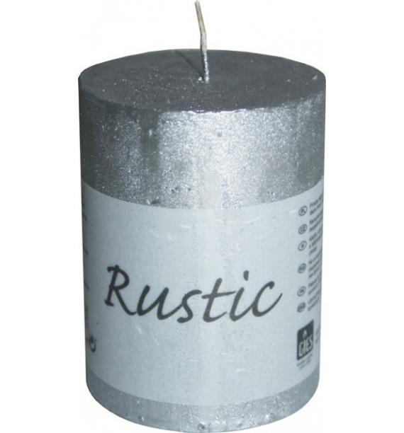 RUSTIC 60/80 SREBRNY - świeca metallic bezzapachowa