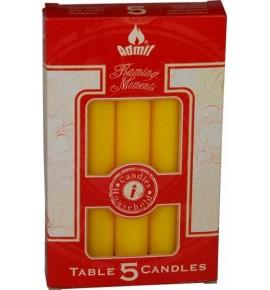 ŻÓŁTE STOŁOWE 5szt. - świece stołowe