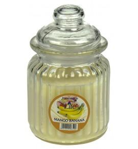 MANGO & BANANA - świeca w słoju w prążki