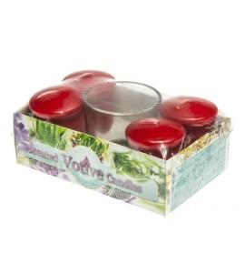 CHERRY set - świece zapachowe votiv 4szt. + szklanka