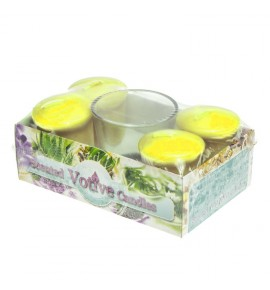LEMON set - świece zapachowe votiv 4szt. + szklanka