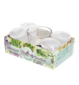 COTTON FRESH set - świece zapachowe votiv 4szt. + szklanka