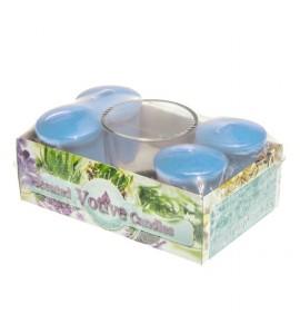 SEA set - świece zapachowe votiv 4szt. + szklanka