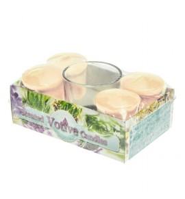 VANILLA set - świece zapachowe votiv 4szt. + szklanka