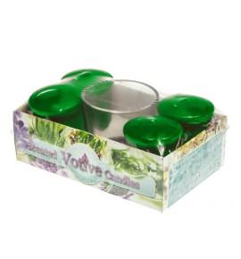 SPRUCE set - świece zapachowe votiv 4szt. + szklanka