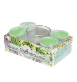 WELLNESS set - świece zapachowe votiv 4szt. + szklanka