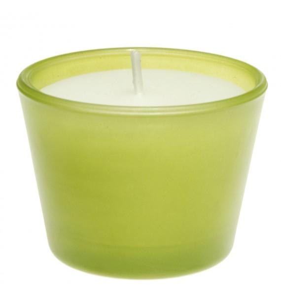 Świeca biała w szkle H-45 (zielony) bezzapachowa