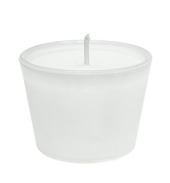 Świeca biała w szkle H-45 (biały) bezzapachowa