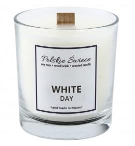 WHITE DAY - Świeca sojowa z drewnianym knotem VIVAT