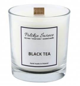 BLACK TEA - Świeca sojowa z drewnianym knotem VIVAT