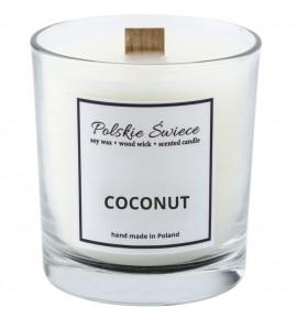 COCONUT- Świeca sojowa z drewnianym knotem VIVAT