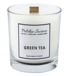 GREEN TEA - Świeca sojowa z drewnianym knotem VIVAT
