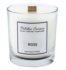 ROSE - Świeca sojowa z drewnianym knotem VIVAT