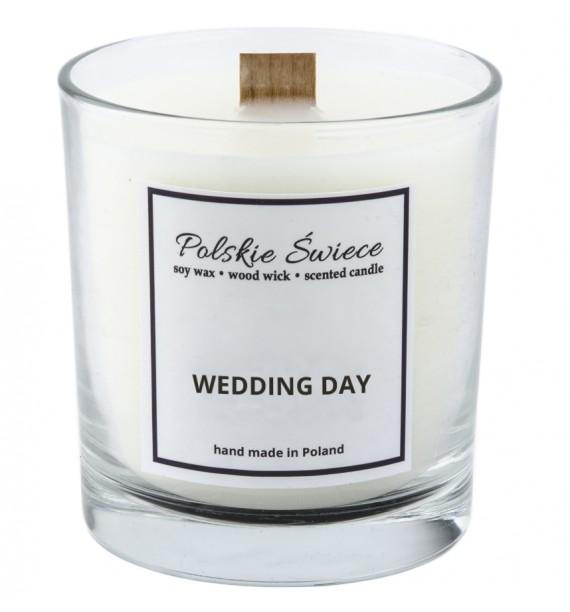 WEDDING DAY - Świeca sojowa z drewnianym knotem VIVAT