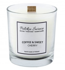 COFFEE & SWEET CHERRY - Świeca sojowa z drewnianym knotem VIVAT