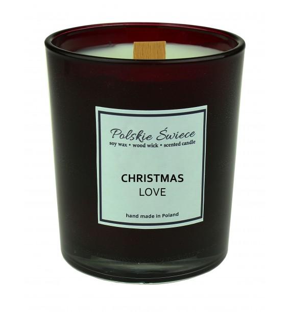 CHRISTMAS LOVE - Świeca sojowa z drewnianym knotem bordo
