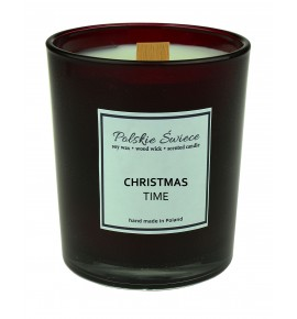 CHRISTMAS TIME - Świeca sojowa z drewnianym knotem bordo