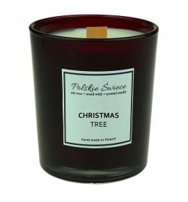 CHRISTMAS TREE - Świeca sojowa z drewnianym knotem bordo