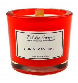 CHRISTMAS TIME - Świeca sojowa z drewnianym knotem hevy red