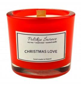 CHRISTMAS LOVE - Świeca sojowa z drewnianym knotem hevy red