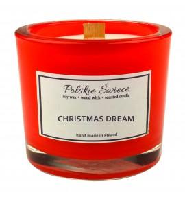 CHRISTMAS DREAM - Świeca sojowa z drewnianym knotem hevy bordo