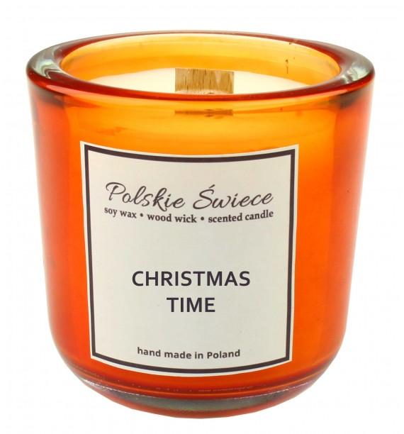 CHRISTMAS TIME - Świeca sojowa z drewnianym knotem hevy orange