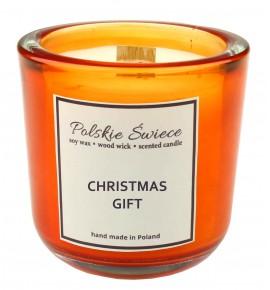 CHRISTMAS GIFT - Świeca sojowa z drewnianym knotem hevy orange