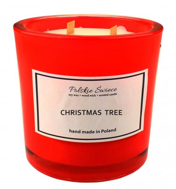 CHRISTMAS TREE - Świeca sojowa z drewnianym knotem hevy12 red