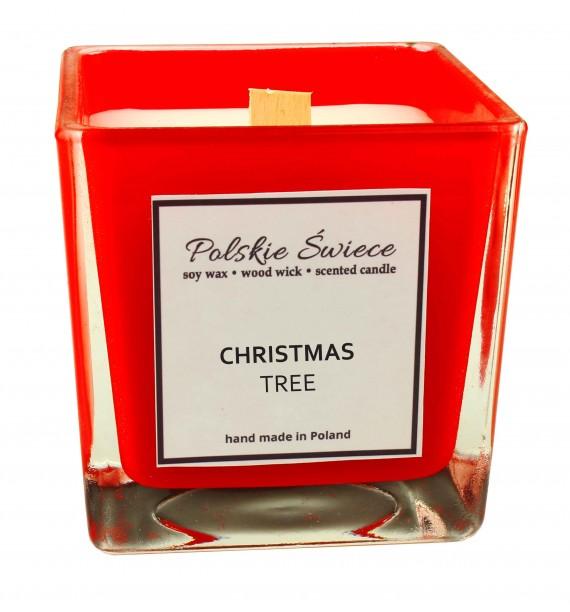 CHRISTMAS TREE - Świeca sojowa z drewnianym knotem kwadrat RED