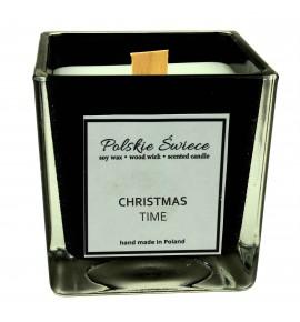 CHRISTMAS TIME - Świeca sojowa z drewnianym knotem kwadrat BLACK
