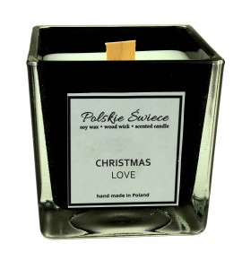 CHRISTMAS LOVE - Świeca sojowa z drewnianym knotem kwadrat BLACK