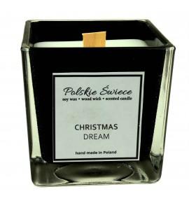 CHRISTMAS DREAM - Świeca sojowa z drewnianym knotem kwadrat BLACK