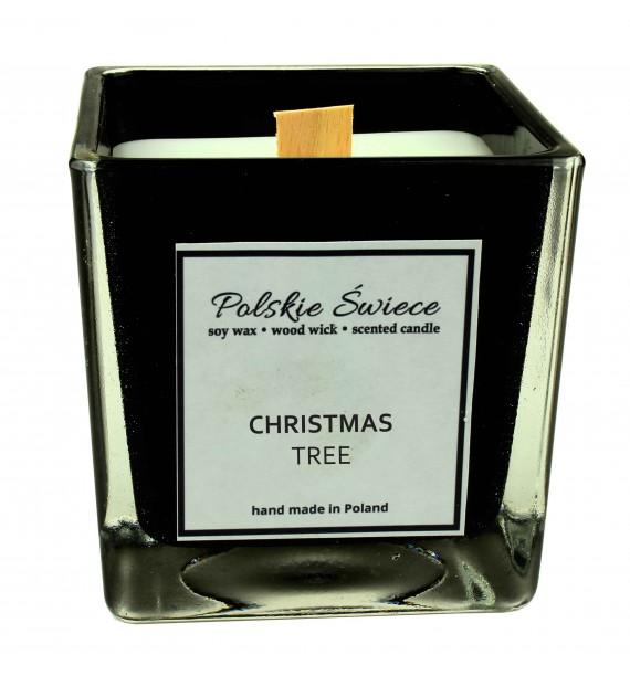 CHRISTMAS TREE - Świeca sojowa z drewnianym knotem kwadrat BLACK