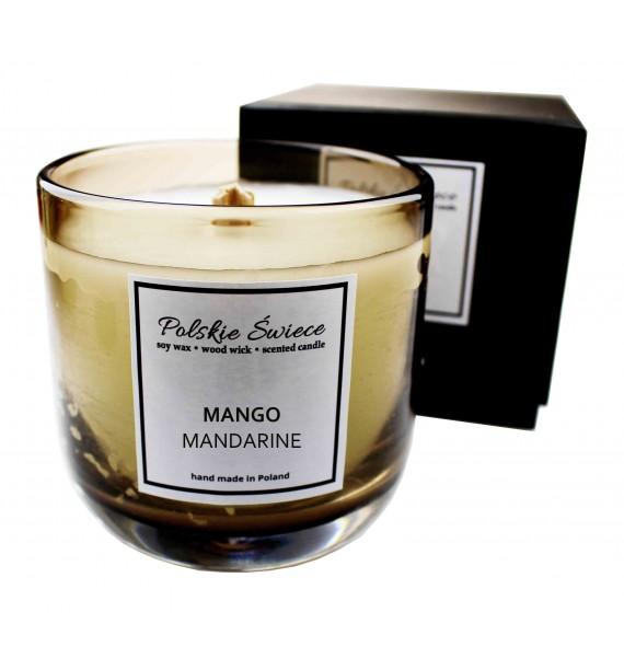 MANGO MANDARINE - Świeca sojowa z drewnianym knotem bronze