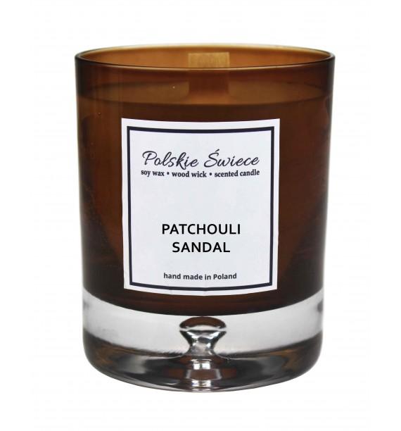PATCHOULI SANDAL - Świeca sojowa z drewnianym knotem bronze