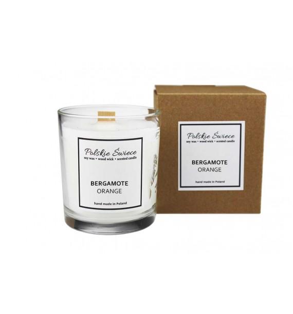BERGAMOTE ORANGE  - Świeca sojowa z drewnianym knotem  giftbox