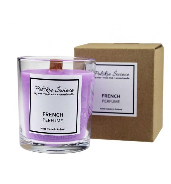 French Perfume - Świeca sojowa | Drewniany knot