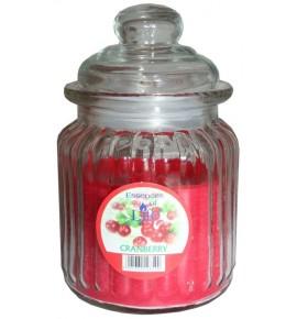 CRANBERRY - świeca w słoju w prążki