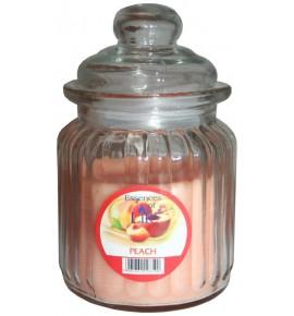 PEACH - świeca w słoju w prążki