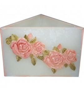 Trójkąt Różowy Róża - lampion parafinowy