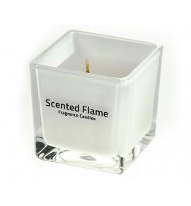 Scented Flame (Biały) - średnia świeca zapachowa w szkle 8/8/8