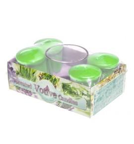 FLORAL SHOP set - świece zapachowe votiv 4szt. + szklanka